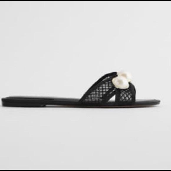 Zara mesh slides black faux pearl euro 38 7.5 Nwt